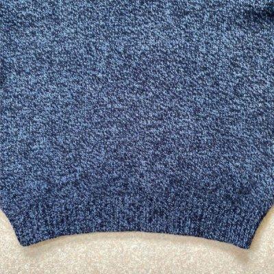 画像1: 「L.L.Bean(エルエルビーン)」ブルー メランジ ラムズウール 肉厚 ローゲージ クルーネック ニット