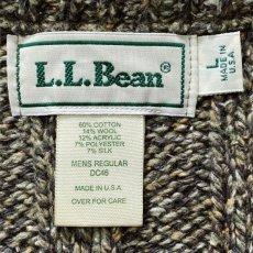 画像7: 「L.L.Bean(エルエルビーン)」USA製 メランジ 立畝 ブラウン シルク混 Vネック ニット (7)