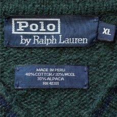 画像7: 「Polo RALPH LAUREN(ポロ ラルフローレン)」ポニー刺繍 Vネック ダークグリーン ニット (7)