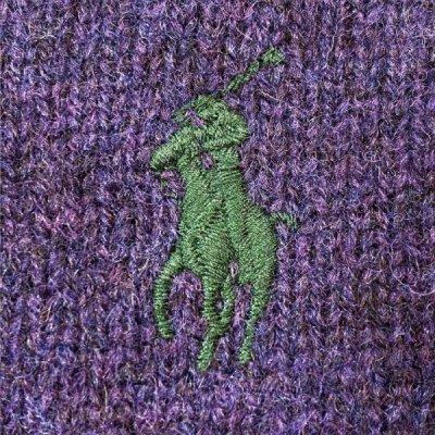 画像1: 「Polo RALPH LAUREN(ポロ ラルフローレン)」ポニー刺繍 Vネック メランジ パープル ニット