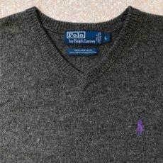 画像3: 「Polo RALPH LAUREN(ポロ ラルフローレン)」ポニー刺繍 Vネック チャコール ニット (3)