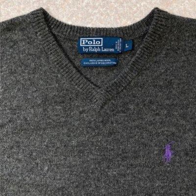 画像2: 「Polo RALPH LAUREN(ポロ ラルフローレン)」ポニー刺繍 Vネック チャコール ニット