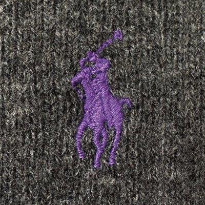 画像1: 「Polo RALPH LAUREN(ポロ ラルフローレン)」ポニー刺繍 Vネック チャコール ニット