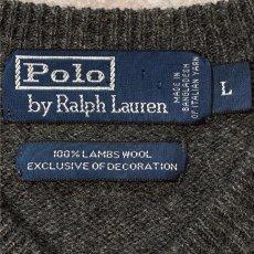画像6: 「Polo RALPH LAUREN(ポロ ラルフローレン)」ポニー刺繍 Vネック チャコール ニット (6)