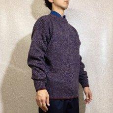 画像17: 「Wool rich(ウール リッチ)」パープル メランジ クルーネック ウール ニット (17)