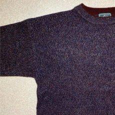 画像2: 「Wool rich(ウール リッチ)」パープル メランジ クルーネック ウール ニット (2)