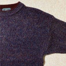 画像4: 「Wool rich(ウール リッチ)」パープル メランジ クルーネック ウール ニット (4)