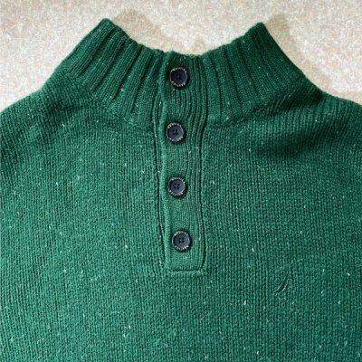 画像1: 「NAUTICA(ノーティカ)」グリーン ハーフボタン ワンポイント刺繍 メランジ ニット