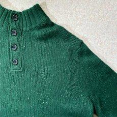 画像4: 「NAUTICA(ノーティカ)」グリーン ハーフボタン ワンポイント刺繍 メランジ ニット (4)