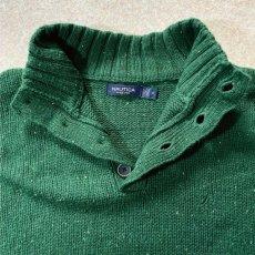 画像8: 「NAUTICA(ノーティカ)」グリーン ハーフボタン ワンポイント刺繍 メランジ ニット (8)
