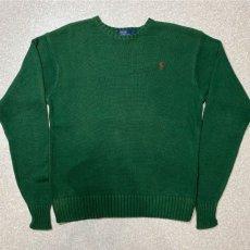 画像1: 「Polo RALPH LAUREN(ポロ ラルフローレン)」クルーネック グリーン 90s ポニー刺繍 コットン ニット (1)
