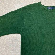 画像2: 「Polo RALPH LAUREN(ポロ ラルフローレン)」クルーネック グリーン 90s ポニー刺繍 コットン ニット (2)