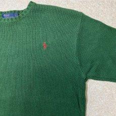 画像4: 「Polo RALPH LAUREN(ポロ ラルフローレン)」クルーネック グリーン 90s ポニー刺繍 コットン ニット (4)