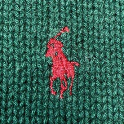 画像1: 「Polo RALPH LAUREN(ポロ ラルフローレン)」クルーネック グリーン 90s ポニー刺繍 コットン ニット
