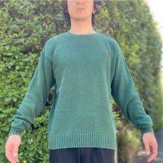 画像16: 「Polo RALPH LAUREN(ポロ ラルフローレン)」クルーネック グリーン 90s ポニー刺繍 コットン ニット (16)