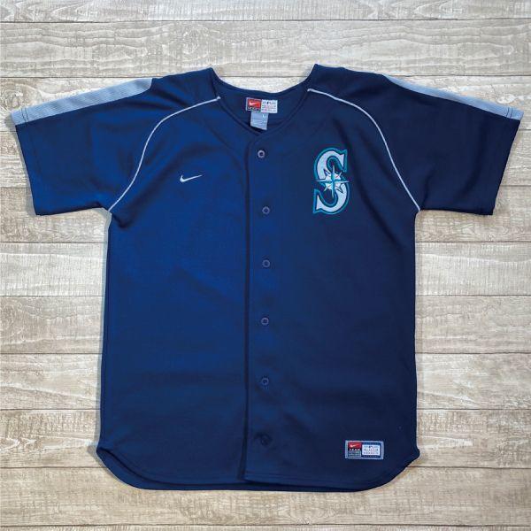 画像1: 「NIKE(ナイキ)」MLB シアトル・マリナーズ ラグランスリーブ ベースボールシャツ (1)