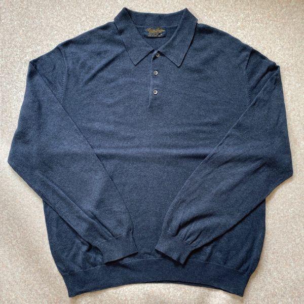 画像1: 「Brooks Brothers(ブルックスブラザーズ)」3ボタン 長袖ニットポロシャツ (1)