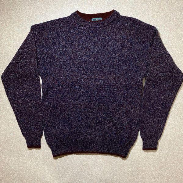 画像1: 「Wool rich(ウール リッチ)」パープル メランジ クルーネック ウール ニット (1)