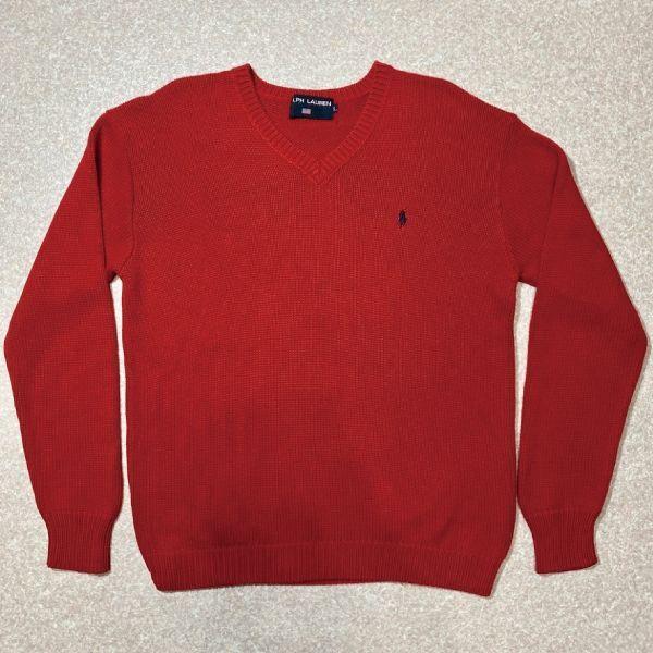 画像1: 「POLO SPORT(ラルフローレン ポロスポーツ)」Vネック 赤 90s ポニー刺繍 コットン ニット (1)